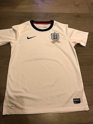 Nike Boys England Football Shirt Age 12-13 Years 150 Years Dry Fit White