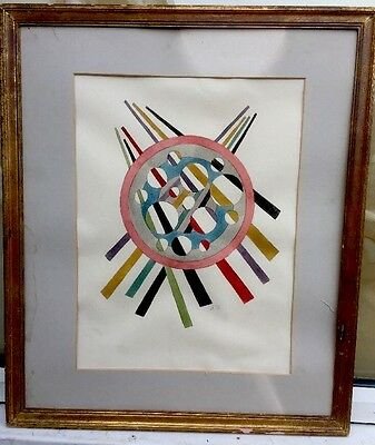 1950s RUSSIAN/ CUBIST / ABSTRACT WATERCOLOUR PAINTING ON PAPER signed