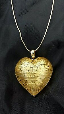9ct Heart Murano pendant 9ct gold chain and components unwanted gift Prouds