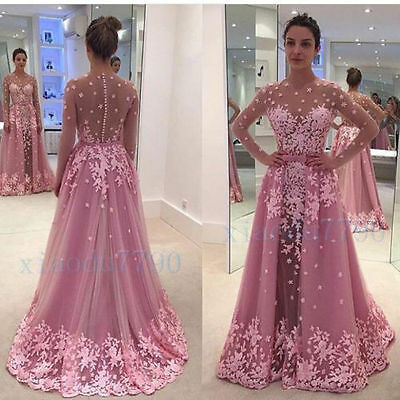 Long Evening Cocktail Formal Party Celebraty Bridesmaid Lace Prom Gown Dress
