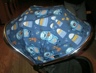 iCandy Peach 1 2 or Jogger main seat HOOD COVER cute monsters blue