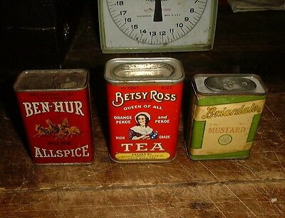 Vintage Lot Spice Tin Can Briardale Betsy Ross Tea Ben Hur Little Rock Seattle