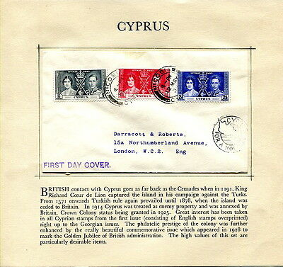 1937 Coronation Cyprus illustrated first day cover Nicosia to UK