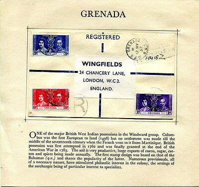1937 Coronation Grenada plain registered first day cover to UK
