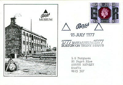 1977 200th anniversary Bass cover Burton on Trent Museum special handstamp