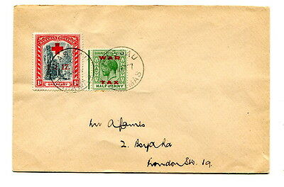 Bahamas 1937 cover with very late usage two 1917-1919 War Tax stamps, sent UK