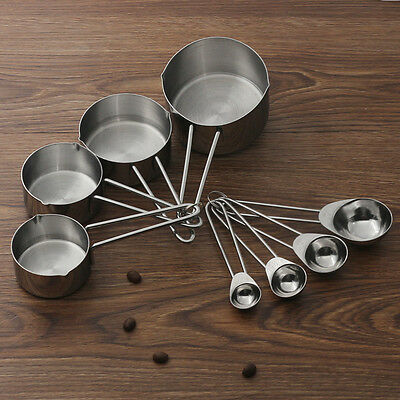 8pcs Stainless Steel Measuring Cups & Spoons Set Kitchen Tools Baking Teaspoon