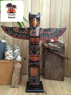 Wooden Hand Made Tribal Eagle American Indian Ethnic Totem Pole 60cm