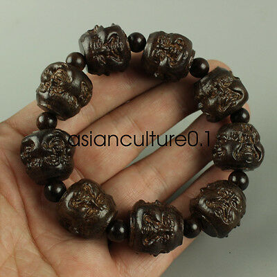 Chinese Hand carved hardwood Four Buddha Bracelet  LMQ429