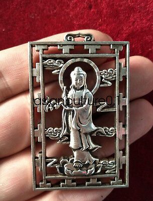 China Decorated Wonderful Miao Silver Carving Lucky Guanyin Pendant LMQ172