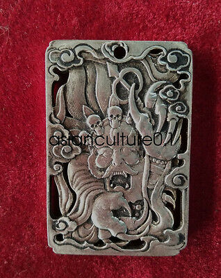 China Decorated Wonderful Miao Silver Carving Lucky Dragon Pendant LMQ187
