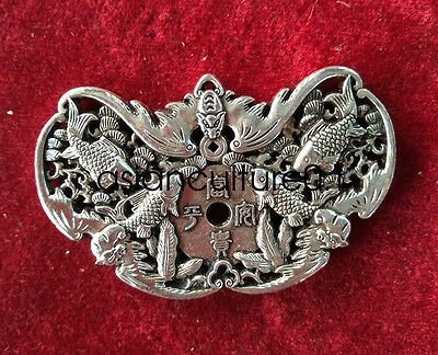 China Decorated Wonderful Miao Silver Carving Lucky fish Pendant LMQ183