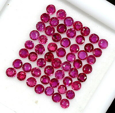 Natural Ruby Round Cut 1.75 MM 30 PCS 0.99 Cts Red Pink Shade Loose Gemstones