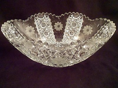 Large American Brilliant Period Oval Bowl, Antique Cut Crystal, Daisy Intaglio