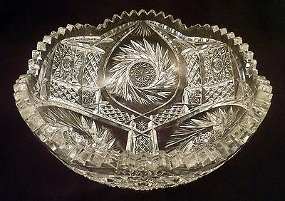Signed Clark's Aurora Pattern Bowl, American Brilliant Period Antique Crystal