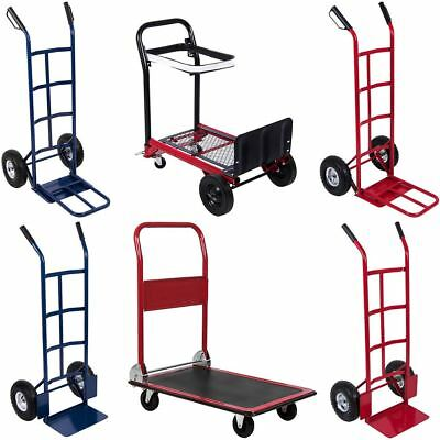 Hand Trolley Truck Blue Red Steel Frame Heavy Duty Industrial Portable Sack Cart