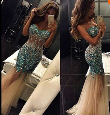 Mermaid Crystal Formal Prom Dresses Party Ball Evening Pageant Celebrity Gown