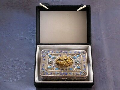Argent Massif Old Chinese  Export Silver Enamel Box With Jade Jedeite Marked