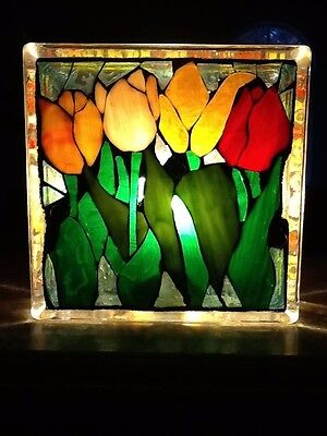 Handcrafted Stain Glass Mosaic Lamp Beautiful Detail Never Used