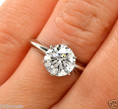3CT Round Diamond Solitaire Engagement Ring 14K White Gold