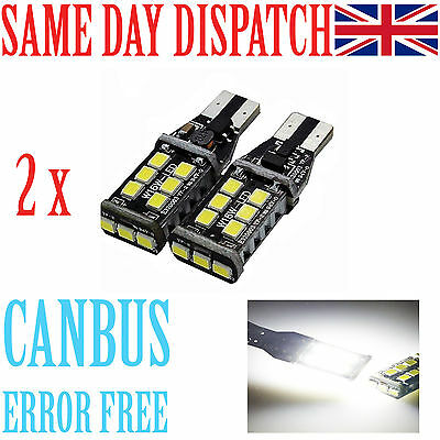 2x BRIGHTEST T10 CAR BULBS LED ERROR FREE CANBUS 15 SMD WHITE W5W 501 SIDE LIGHT