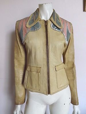 Vintage 60s EAST WEST MUSICAL INSTRUMENTS ~ Leather Butterfly Jacket S ~