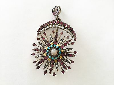 Antique gilded silver pendant' Star & Moon'Medle eastern or from India,beautiful
