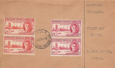 N 1199 Ndola November 1946 Victory First day Cover 2 x 2 stamps