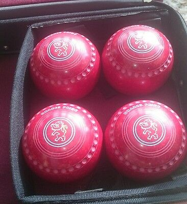 Drakes Pride Professional Plus Bowls Size 4H dated WB18, with Bowls Trolley