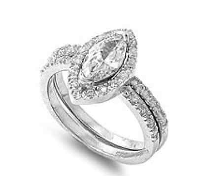Marquise .925 Sterling Silver Simulated Diamond Size 6 Engagement Ring Set S41