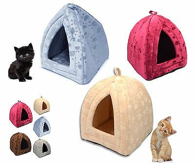 Luxury Pet Dog Cat Warm Fleece Winter Bed Igloo House Soft Basket For Kitten