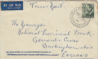N 1584  RAAF PO Wiliamstown NSW Air cover to UK; 3d rate Forces mail discount