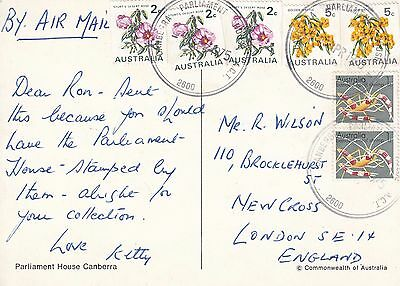 N 1840 Parliament House ACT cds 1975  postcard air UK; 18c rate; coils