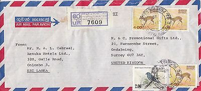 N 1622 Colombo registered air 1985 cover UK; 4 stamps