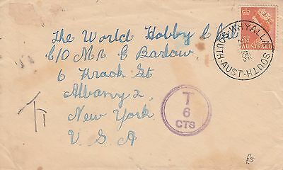 N 2071 Whyalla South SA 1956 underpaid cover to the USA;  6d 1/2d QE2 stamp T
