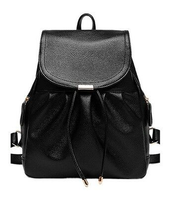 Backpack,Shoulder Bag, Casual Daypack with Bowknot, Black PU Leather