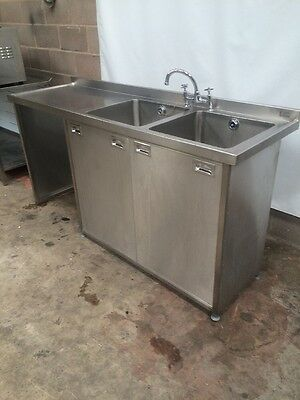 Stainless Steel Double Bowl Sink And Cupboard £400 plus vat