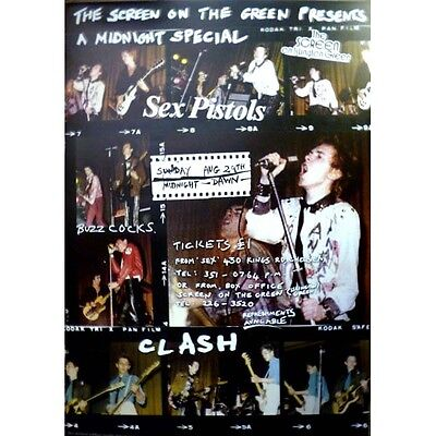 Sex Pistols poster - Clash - Buzzcocks Screen on the Green 1976 concert w/photos