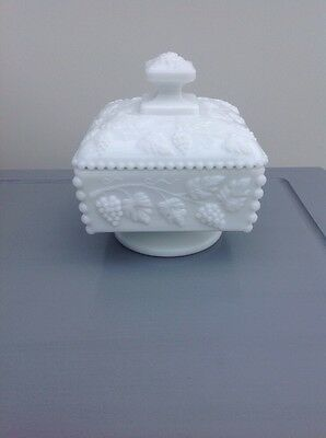 Westmoreland Milk Glass Dish With Lid Embossed With A Grape  And Leaf Design