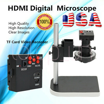 14MP 1080P HDMI HD Microscope USB Industry Camera 180X C-mount Lens+Stereo Stand