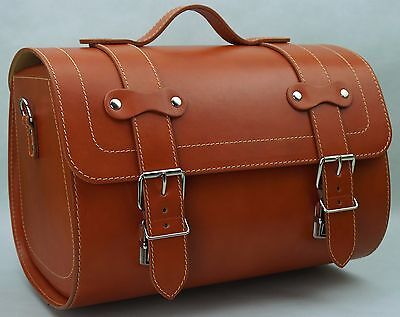 Medium Leather Top Case Roll Bag Vespa Primavera PX LXV GTS GTV Honey Brown Tan