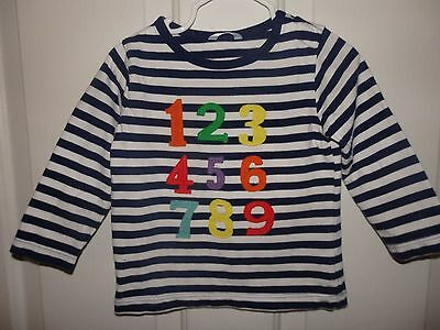 Baby Boden Boys Navy/White Stripe Long Sleeve Shirt Size 12-18 Months Numbers