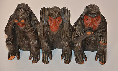 Vintage Three Wise Monkeys Carved Wood Figurine with defects