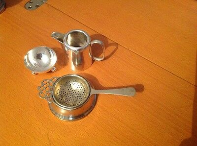 Vintage Silver Plate. Quality pieces. Tea strainer, jug and salt.