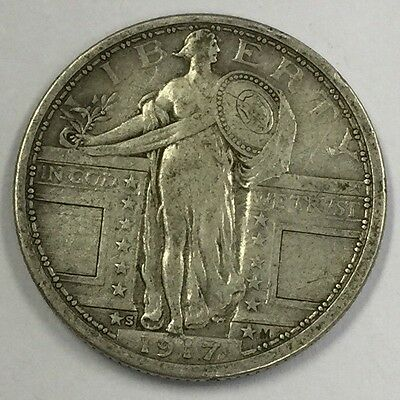 1917-S 25C Type 1 Standing Liberty Silver Quarter FREE SHIPPING #4760