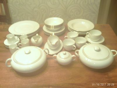 38 Piece HARMONY Dinner Set in white fine china with Gold Rim