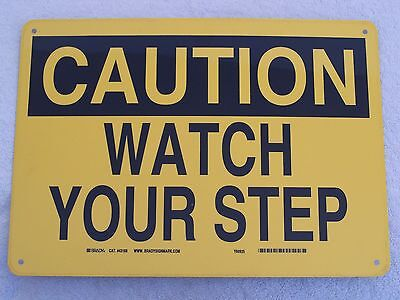 "CAUTION WATCH YOUR STEP - 14"" x 10"" Aluminum Sign OSHA Safety"