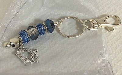 Purse Key Car Bead Chain Dior Rhinestone Charm Blue Unque