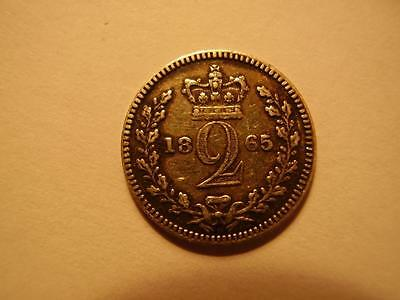 1865 Victoria Maundy Silver Twopence 0.5 grams aVF