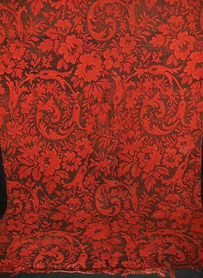 """ANTIQUE RUG HALL RUNNER Wool Red Black Paisley VICTORIAN 35"""" x 128"""""""